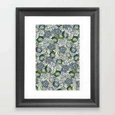 succulents green indigo Framed Art Print