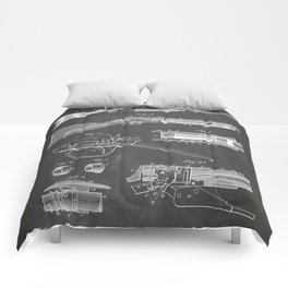 Automatic Rifle Patent - Browning Rifle Art - Black Chalkboard Comforters