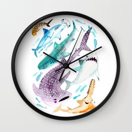 Help Stop Shark Finning - Watercolor Ocean Animals - Fish Wall Clock