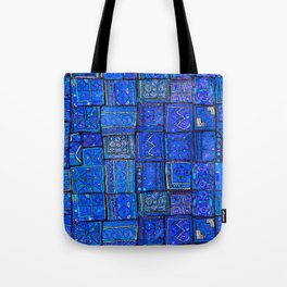 V2 Calm Blue Traditional Moroccan Cloth Texture. Tote Bag