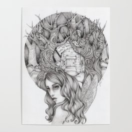 JennyMannoArt GRAPHITE DRAWING/FAIRIE Poster