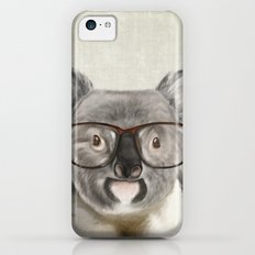 A baby koala with glasses on a rustic background Slim Case iPhone 5c