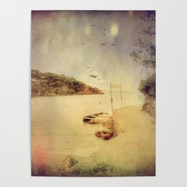 The path that hugs the beach Poster