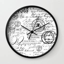 Vintage handwriting black and white Wall Clock