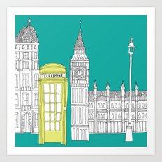 London - City prints // Red Telephone Box Art Print