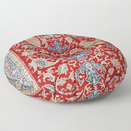 Turkey Hereke Old Century Authentic Colorful Royal Red Blue Blues Vintage Patterns Floor Pillow