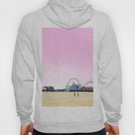 Santa Monica Pier with Ferries Wheel and Roller Coaster Against a Pink Sky Hoody