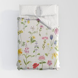 botanical colorful countryside wildflowers watercolor painting Duvet Cover
