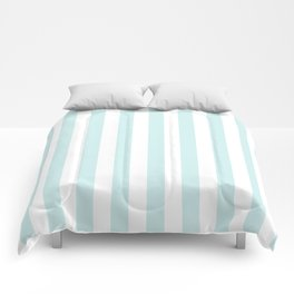 Narrow Vertical Stripes - White and Light Cyan Comforters