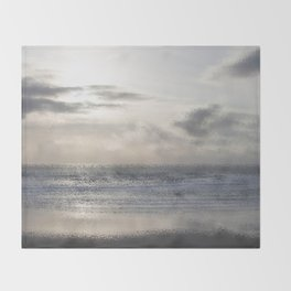Silver Scene ~ Ocean Ripple Effect Throw Blanket