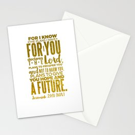 HIS PLANS FOR ME GOLD Stationery Cards