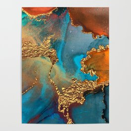Abstract Blue And Gold Autumn Marble Poster