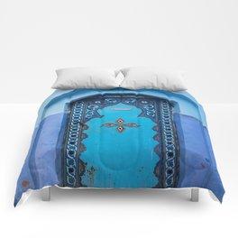 Blue Door in Chefchaouen, Morocco Comforters