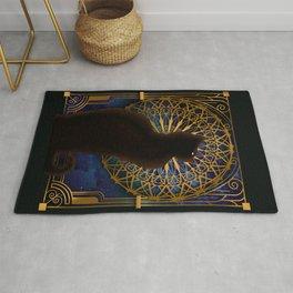 Celestial Sable - Black Cat And Night Magic Mandala Rug