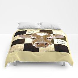 Farmhouse Cow, Welcome Home Farm Fresh Comforters