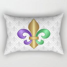 Purple Green and Gold Fleur-de-Lis on Gray Pattern Rectangular Pillow