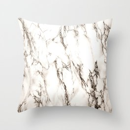 Brown Veined Marble Throw Pillow