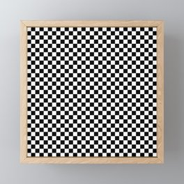 Classic Black and White Checkerboard Repeating Pattern Framed Mini Art Print