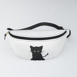 sweet black kitten digital painting Fanny Pack
