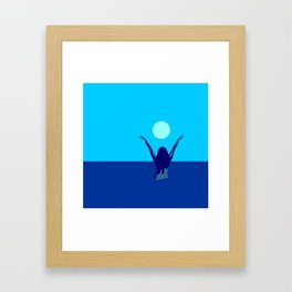 Blue sky and moon is calling me.. Framed Art Print