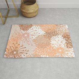 Floral Prints, Blush and Terracotta, Coloured Prints Rug