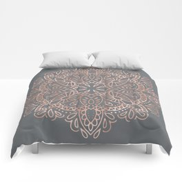 Mandala Rose Gold Pink Shimmer on Soft Gray by Nature Magick Comforters