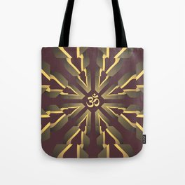 Om Fractal Purple & Yellow, Aum Kaleidoscope Tote Bag
