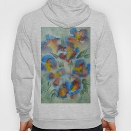 Abstract Flowers Blue Watercolor Hoody