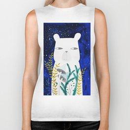 polar bear with botanical illustration in blue Biker Tank