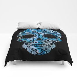 Blue Lace Sugar Skull Comforters