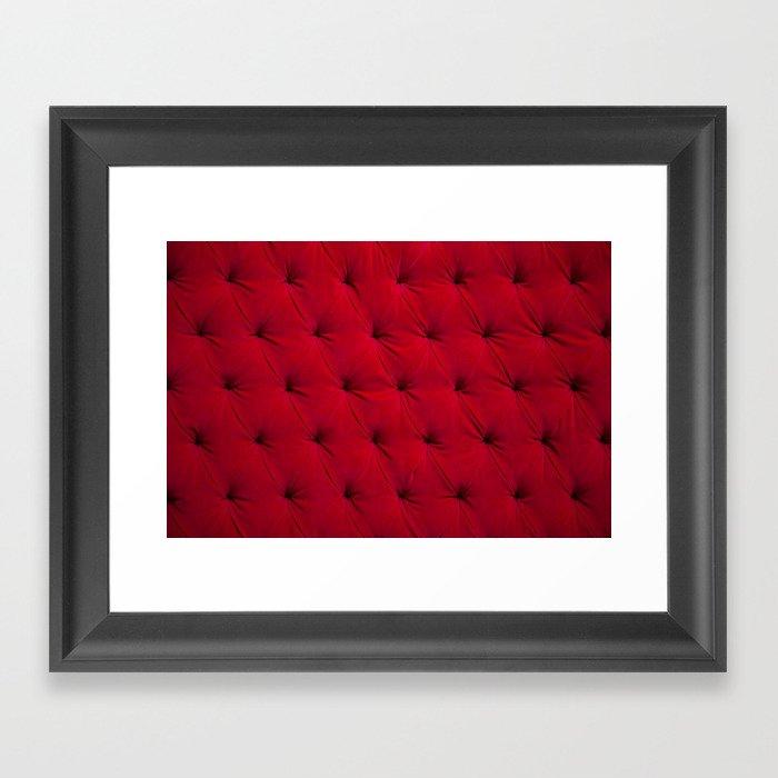 Padded red velvet texture Gerahmter Kunstdruck