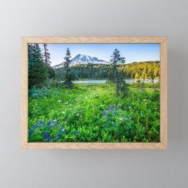 Rainier Wildflowers - Mt. Rainier in the Fall at Reflection Lake Framed Mini Art Print