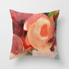 pink summer roses 2 triptych abstract Throw Pillow