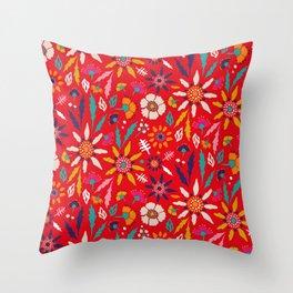 Chrysanthemum Garden in Red Throw Pillow