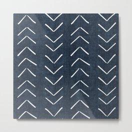 Mud Cloth Big Arrows in Navy Metal Print