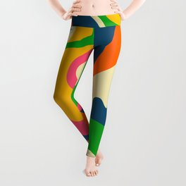 Colorful Mid Century Abstract  Leggings