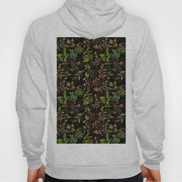 Vintage & Shabby Chic - vintage botanical wildflowers and berries on black Hoody