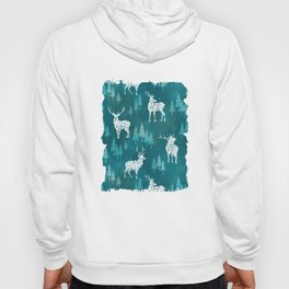 Ice Forest Deer Turquoise Hoody