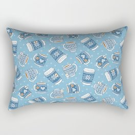 Cozy Blue Mugs Rectangular Pillow