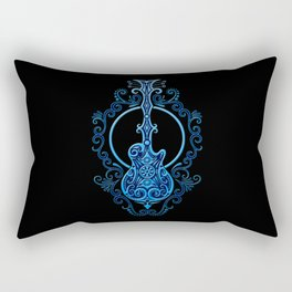 Intricate Blue and Black Electric Guitar Design Rectangular Pillow