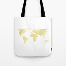 World Map Yellow Gold Shimmery Tote Bag