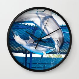 Dolphins jumping out of water on show Wall Clock