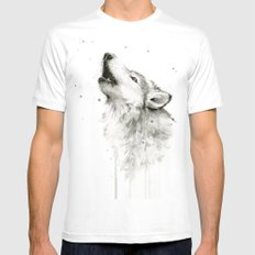 Wolf Howling Watercolor Animals Wildlife Painting Animal Portrait Mens Fitted Tee White X-LARGE