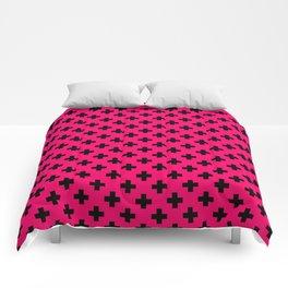 Black Crosses on Hot Neon Pink Comforters
