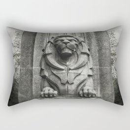 Vancouver Raincity Series - Lion at the Gate - Black and White Rectangular Pillow