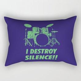 I Destroy Silence Funny Drums Vintage Drummer Distressed Rectangular Pillow