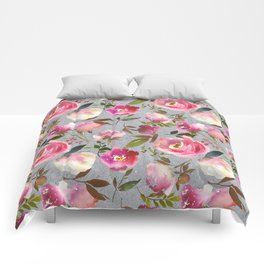 Gray blush pink coral yellow hand painted floral Comforters