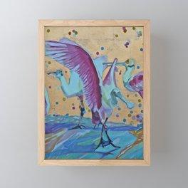 Pink Ibis Rain Framed Mini Art Print