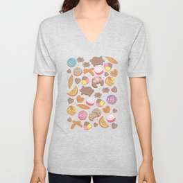 Mexican Sweet Bakery Frenzy // turquoise background // pastel colors pan dulce Unisex V-Neck