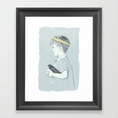 Boy and bird blue Framed Art Print